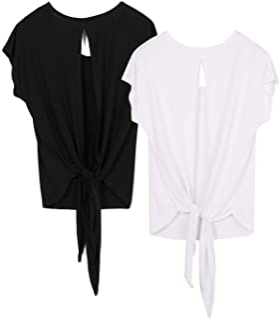 icyzone T-Shirts de Sport Femme Exercice Yoga Tops Dos Ouvert, Paquet de 2