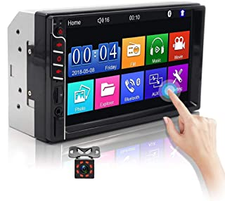 """Double Din Car Stereo Audio Receiver with Bluetooth 7""""Touch Screen Car MP5 Player Support USB/TF/AUX-in/FM Radio Mirror Li... photo"""