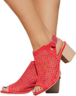 5959a0374464d Amazon.com: chunky summer sandals - Red / Shoes / Women: Clothing ...