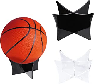 Mlysnd Soporte para Balon, 2 Piezas Soporte Pelotas Estable Pelotas Acrílico Soportes Soporte Exhibición Baloncesto para Fútbol Baloncesto Fútbol Voleibol, 12 * 12 * 6.4cm (Negro, Transparente)