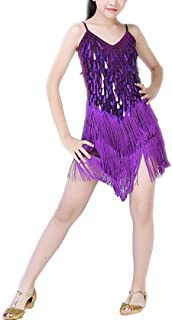 Qianliniuinc Children Latin Dance Dress - Kids Salsa Tango Cha Cha Rumba Stage Performance Outfits Girls Camisole Leotard ...