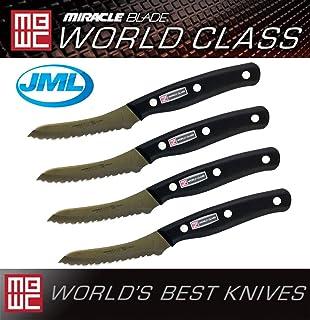 Miracle Blade World Class Series - Juego de cuchillos de cocina (4 piezas, acero inoxidable), color plateado y negro