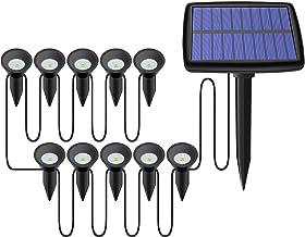 GreenCC 10 stuks kleurwisselende solarlampen voor in de tuin, oplaadbaar, met waterdichte landschapslamp voor in de tuin, ...