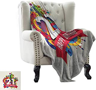 BelleAckerman King Size Blanket 21st Birthday,Colorful Design Happy Birthday Themed Image with Geometrical Castle Print,Multicolor Microfiber All Season Blanket for Bed or Couch Multicolor 60