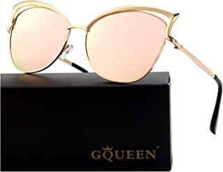 GQUEEN Women's Oversized Polarized Metal Frame Mirrored...