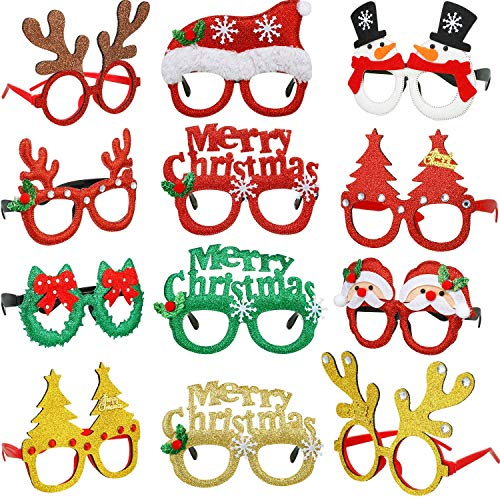 Frienda Christmas Glasses Frame Christmas Tree Glasses Christmas Decoration Costume Eyeglasses Creative Funny Eyewear for Xmas Holiday Favors, Assorted Styles 12 Pieces (Christmas Style Set)
