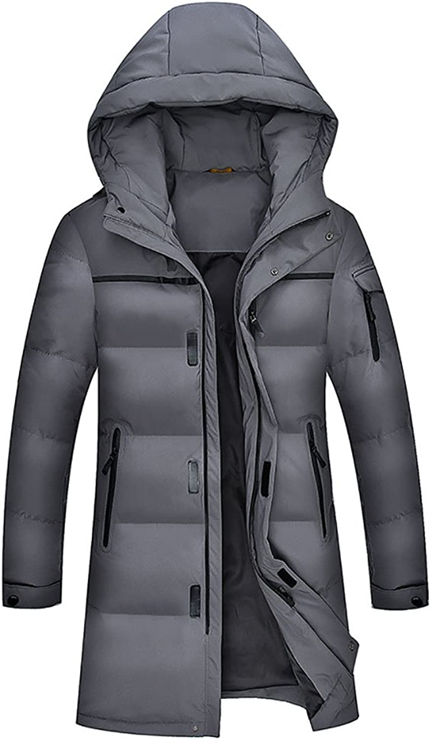 LJHA Men's down jacket Thick long hooded jacket Size optional coat (color   A, Size   175)