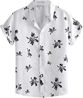 SPE969 Men's Casual Lapel Print Short Sleeve Shirt,Button Down Cool Summer Fashion Top Blouse
