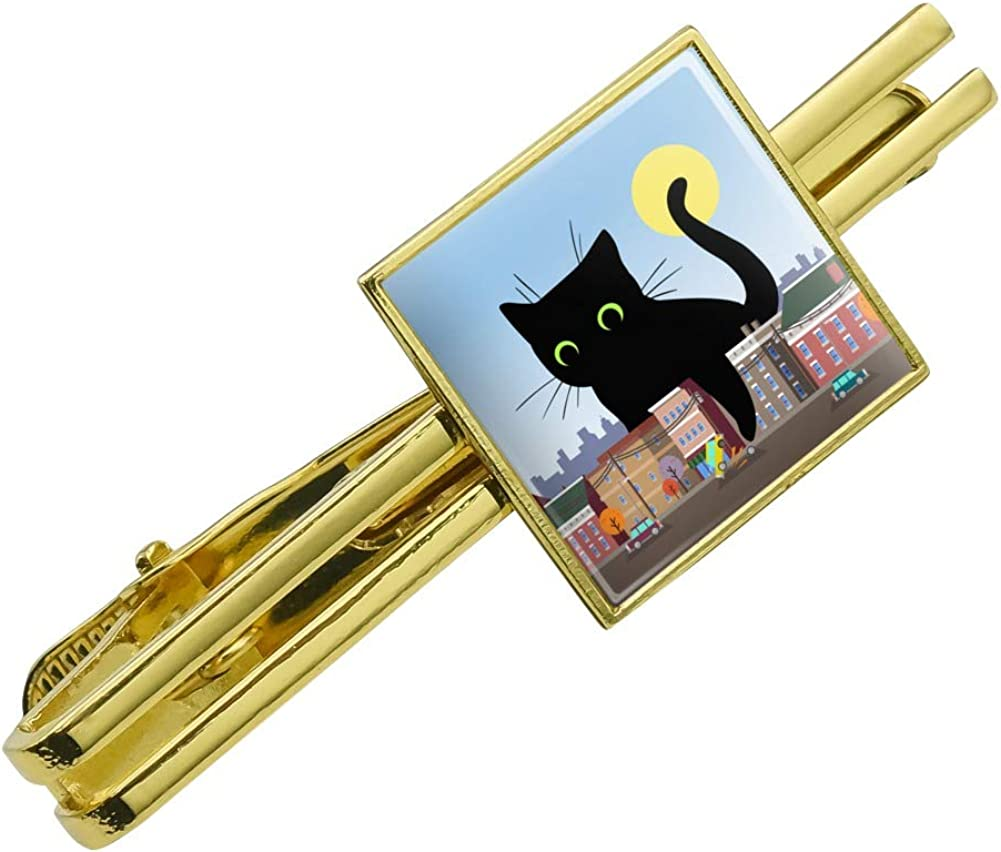 GRAPHICS & MORE Giant Black Cat Playing with Cars Square Tie Bar Clip Clasp Tack Gold Color