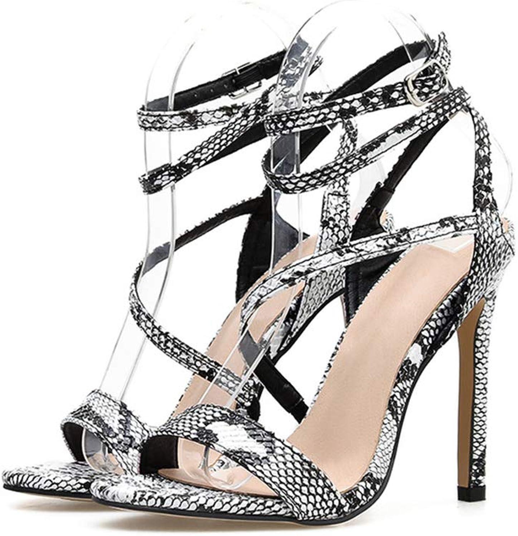 Women's Sandals, Patterned Snake high Heel Stiletto Suede with Cross buckleOpen Toe Slip Breathable Lining Comfortable Women's high Heel Sandals,White,37