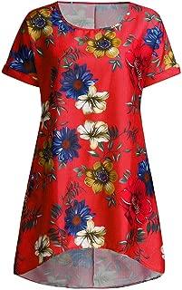 Remanlly Women Boho Summer Prints Pockets Short Sleeve Dress Beach Maxi Dress Party Dress T Shirt Dresses Summer O-Neck Casual T-Shirt Short