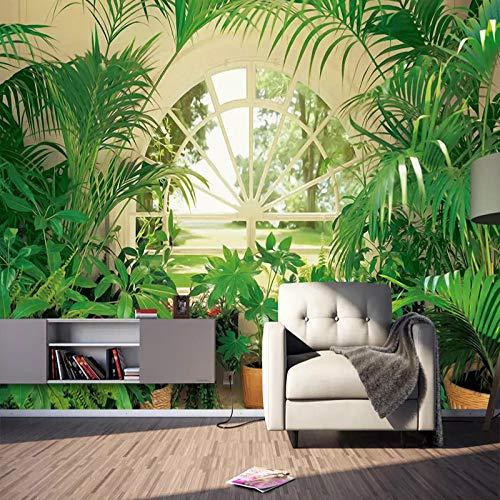 Papel tapiz de murales 3D, planta verde, bosque, ventana, foto, pintura de pared, dormitorio, estudio, fondo, decoración de pared, Fresco-300x210cm