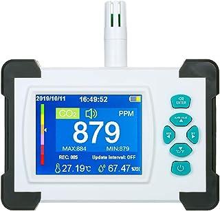 KKmoon Medidor CO2 Monitor de CO2 Detector de dióxido de Carbono con batería Recargable Probador de medidor de CO2 portátil con función de generación y exportación de Archivos PDF