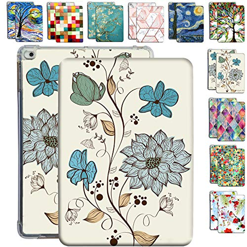 DuraSafe Cases For iPad Mini 5th 4th 1st 2nd 3rd Gen - 7.9 Flip Cover with Auto Sleep/Wake Function, TPU Slim Profile & Adjustable Viewing Angle Stand - Watercolor Flowers