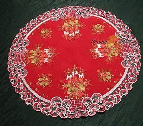Quinnyshop No/ël Bougie Clochette Housse de coussin 40 x 40 cm Carr/é Polyester Rouge