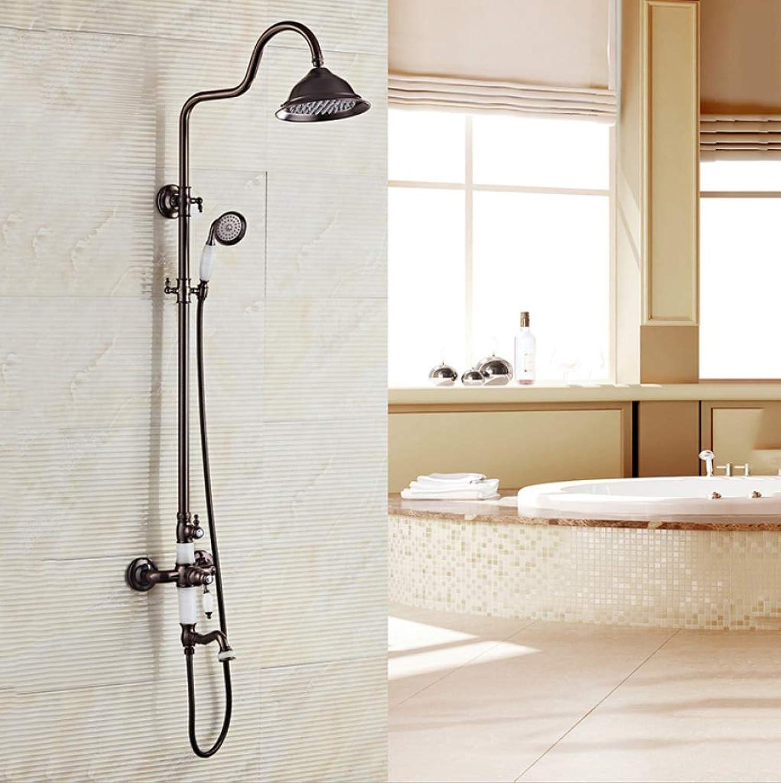 LHW Shower Set chset, Handbrause, Vollkupfer, schwarz, Europische, Vintage Dusche, Heben Bad hei und kalt Thermostat Dusche, Wand-Dusche