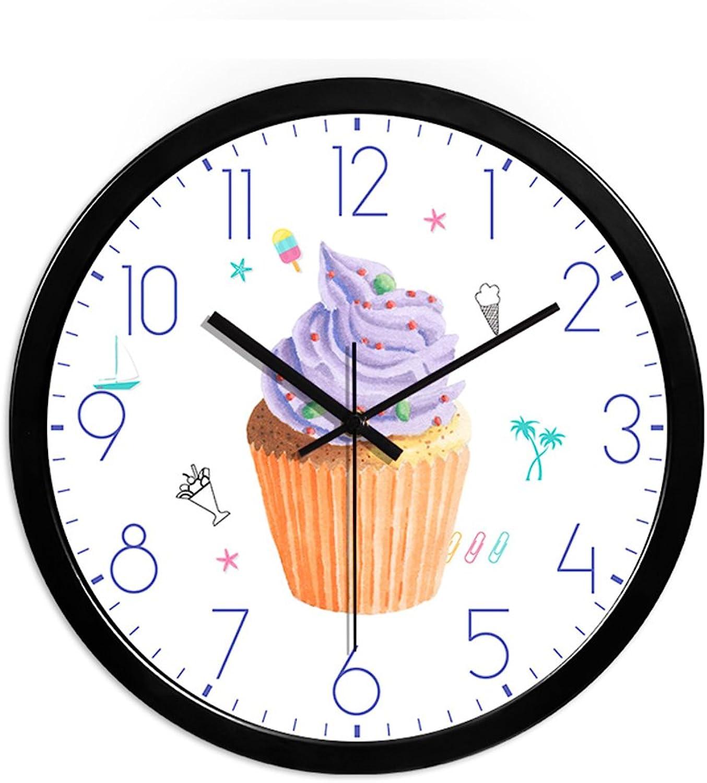 CSQ Dessert Shop Wall Clock, Restaurant (2535CM) Mute Glass Surface Metal Frame Wall Clock Wall Clock and Hanging Clock (color   C, Size   30  30cm)
