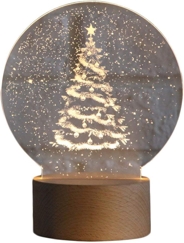Hai Ying   Moderne Woody Tischlampe Kreative Weihnachtsbaum Nachtlichter 3D Schlafzimmer Nachttischlampe Led Tischlampe Energiesparende LED USB Power Ups für Studie Kinderzimmer Bar Cafe S
