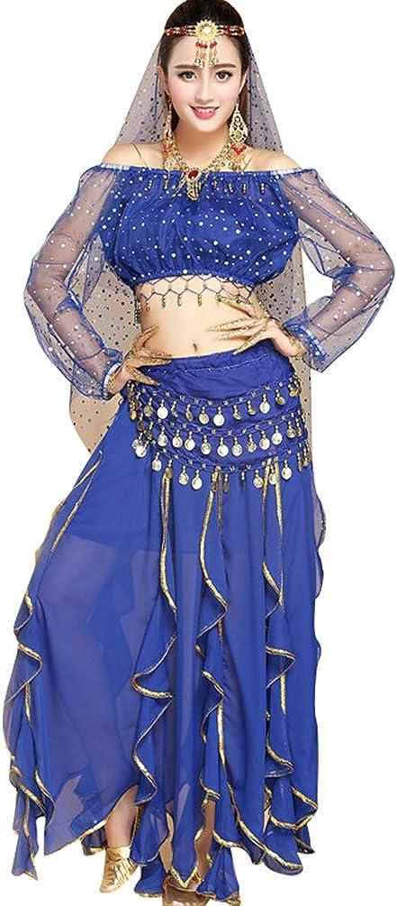 TianBin Paillettes Danza del Ventre Costume per Donna Indiano Danza Vestiti con Molti Accessori
