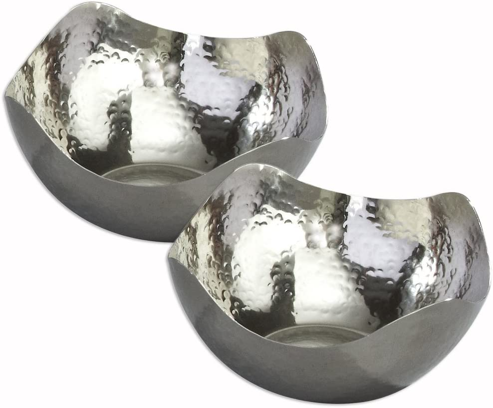 Sale item Elegance Silver Hammered Stainless Steel Se Bowls Free shipping anywhere in the nation - Wave Serving