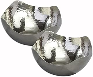 Elegance Silver Hammered Stainless Steel Wave Serving Bowls - Set of 2 5.5 inch Bowls