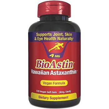 BioAstin Hawaiian Astaxanthin Vegan - 4mg, 120 Count -Hawaiian Grown PremiumAntioxidant - Supports Recovery from Exercise + Joint, Skin, Eye Health Naturally