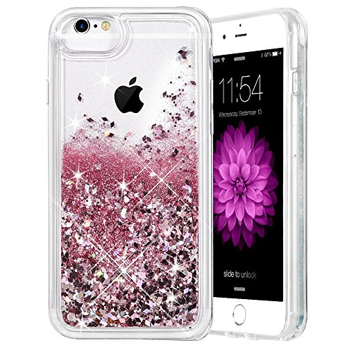 Caka iPhone 6 Plus Case, iPhone 6S Plus Glitter Case for Girls Women Liquid Floating Bling Glitter Sparkle Soft TPU Case for iPhone 6 Plus 6S Plus 7 Plus 8 Plus (5.5 inch) (Rose Gold)