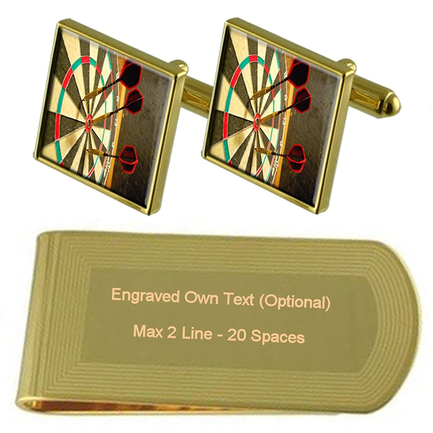 真鍮中級第山を当てダーツダート盤ゴールドトーン カフスボタン お金クリップを刻まれたギフトセット
