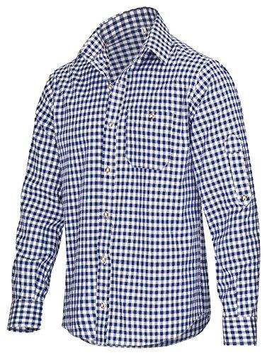Trachtenhemd für Trachten Lederhosen Freizeit Hemd rot,balu,Grun-kariert Gr. S-XXXL (XXXL, BLAU)