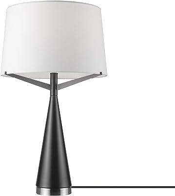 """Novogratz x Globe Levon 24"""" Table Lamp, Dark Bronze, Brushed Nickel Accents, White Linen Shade,67693"""