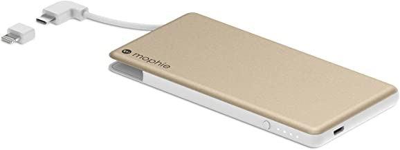 mophie powerstation Plus Mini External Battery with Built in Cables for Smartphones and Tablets (4,000mAh) - Gold