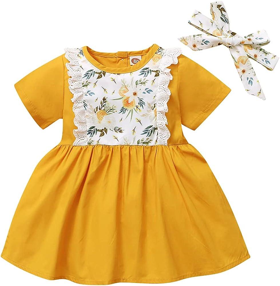 LAPA Baby Girls Dresses Infant Short Sleeve Round Neck Floral Sundresses Outfits