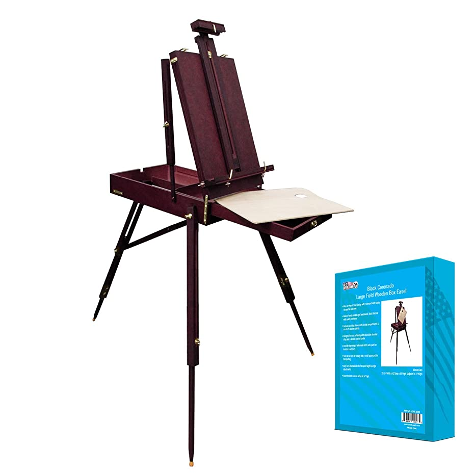 U.S. Art Supply Black Cherry Coronado French Style Easel & Sketchbox with 12
