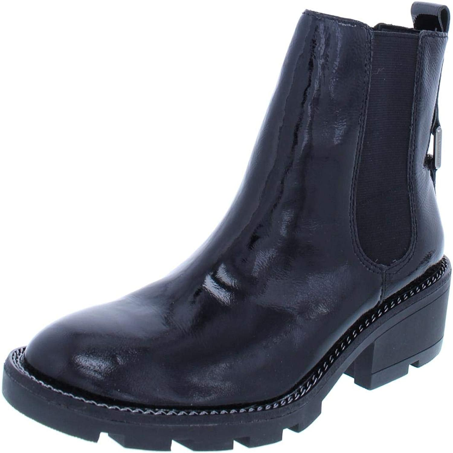 KENDALL + KYLIE Womens Porter Patent Leather Chelsea Boots Black 7 Medium (B,M)