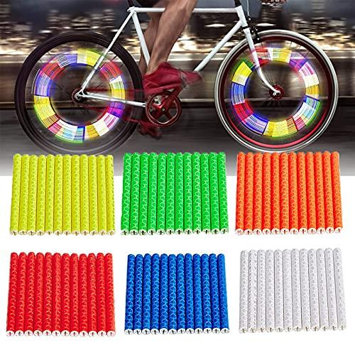 YBFBSJK Bike Speichenreflektor 72 Stück Fahrrad Speichenreflektoren Speichenabdeckung Fahrrad Speichen Sticks MTB Speichenreflektoren Für Mountainbikes Fixed Gear Bicycle Offroad Bikes 6 Farben