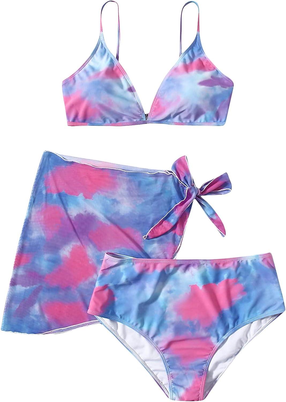 Romwe Women's Plus Size 3 Pack Tie Dye Swimsuit Triangle High Waisted Bikini Set with Beach Skirts