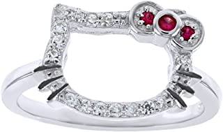 Jewel Zone US Hello Kitty Face Cubic Zirconia Fashion Engagement Ring in 925 Sterling Silver