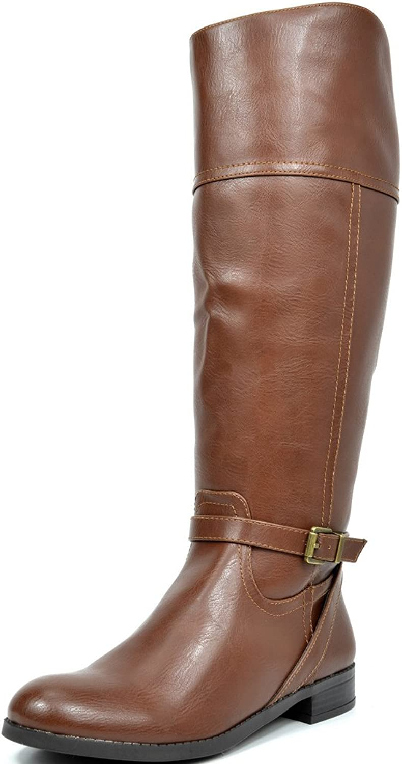 TOETOS Circo Women's Fashion Daily Casual Knee-High Buckle Lady Winter Riding Boots (Wide Calf Available)