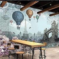 MAZFカスタム壁紙レトロ英国スタイル熱気球テレビ背景壁カスタム大きな壁画緑の壁紙壁画