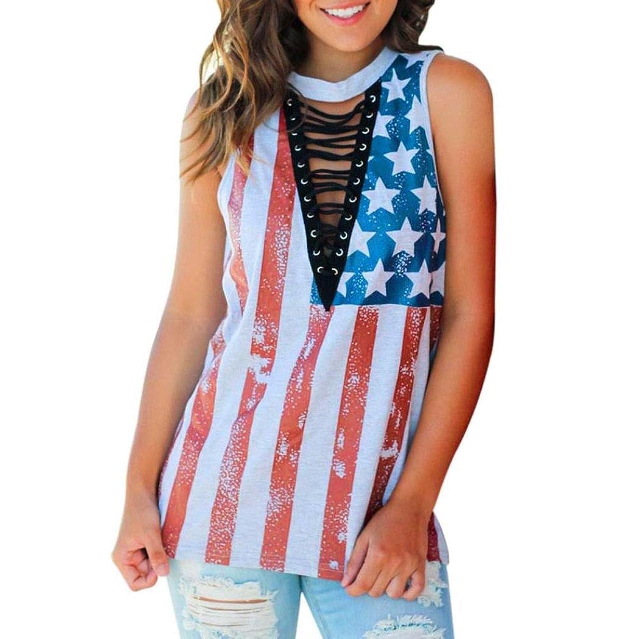 GBSELL Women Rock American Flag Print Sleeveless Tank Crop Tops Blouse Shirt