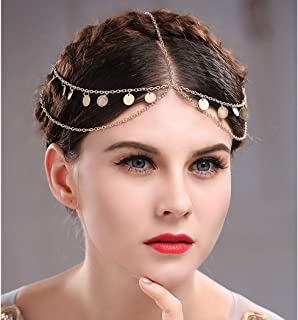 Brishow Boho Gold Layered Head Chain Sequins Tassel Headband Fashion Headpiece Jewelry for Women and Girls