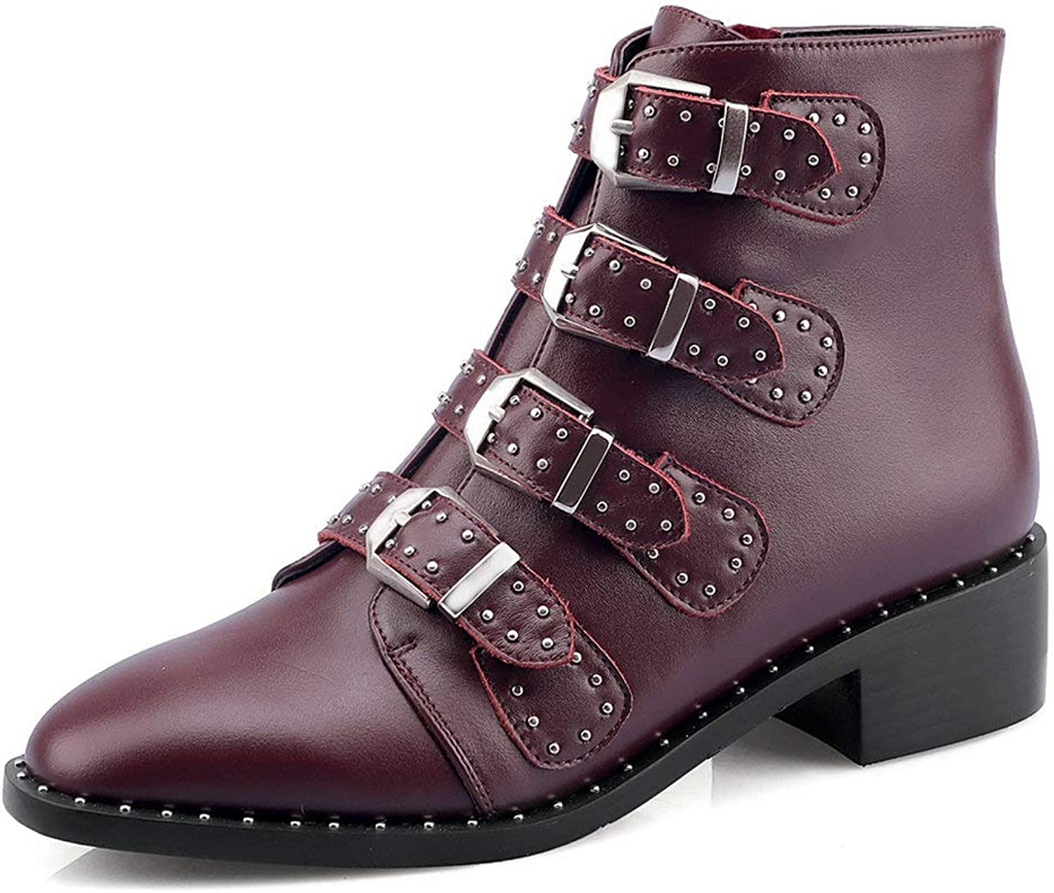 AnMengXinLing Rivet Studded Ankle Boot Women Block Low Heel Pointed Toe Leather Buckle Strappy Punk Cowboy Chelsea Boot