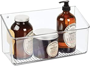 mDesign Wall Mount Plastic Home Storage Organizer Basket Bin Tray, Large, Plastic, Clear, Pack of 1
