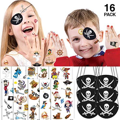 TBoonor Temporäre Tattoos Kinder 10 Sheets mit Piraten Augenklappe 6 Stück Piraten Mitgebsel Set Wasserdicht Tattoo Kinder Set und augenklappe Kinder für Karneval, Halloween und Geburtstag Partys