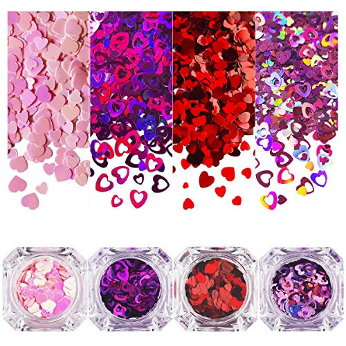 4 Jars Heart Nail Sequin, Ultra Thin Nail Glitter Paillette, Laser 3D Nail Art Flakes, Shining Sequin Paillette for Face DIY Crafts