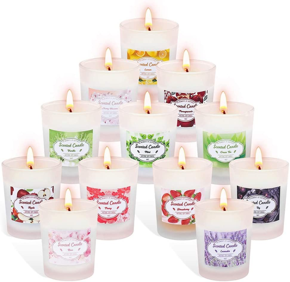 Aottom Scented Candles Gift Set for Women, 12 Pack Lavender Vanilla Lemon Rose Natural Soy Wax Votive Scented Aromatherapy Candles Frosted Glass Candles for Mother's Day Birthday Anniversary Wedding
