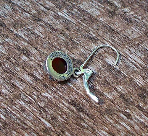 Recycled Vintage 1940's Red Beer Bottle Sterling Silver Botanical Leverback Earrings