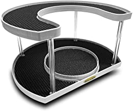 Stow-n-Spin 2 Tier Lazy Susan Turntable Spice Rack Organizer Rotating Spice Holder Shelf w/Double Spinner Seasoning Organizer Racks for Spices Deluxe Spice Racks for Cabinets w/ 11