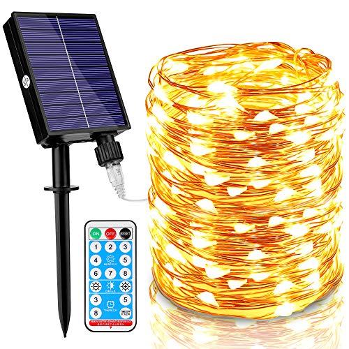 Molbory Solar Lichterkette Aussen, 30M 300 LED Lichterkette Außen Wasserdicht KupferDraht 8 Modus Solarlichterkette Deko für Garten, Balkon, Terrasse, Tor, Hof, Hochzeit, Party (Warmweiß)