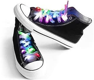 LED Light Multicolor Shoelaces Battery Powered Nylon Shoestring Lighting The Night (1Pack)